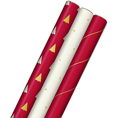 Hallmark Minimalist Christmas Wrapping Paper with Cut Lines on Reverse (3 Rolls: 120 sq. ft. ttl) Red, White, Gold Trees…