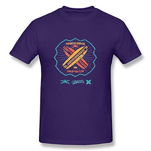Men's Classic Fit O-Neck T-Shirt Longboard Surfing Retro Emblem Graphic Design Purple