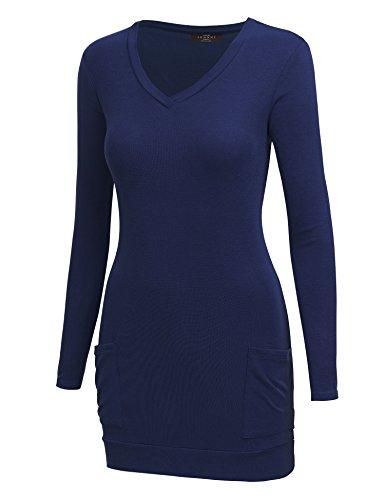 Womens V Neck Sleeve Pocket Tunic product image