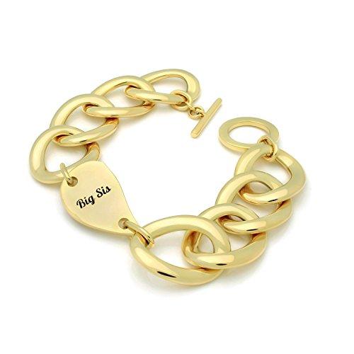 """Bracelets pour Sisters Lot de 2bracelets Sister W gravé Demi coeurs Pendentifs Plaqué or 18K Bracelets de Maillon de chaîne, gravé """"Big Sis"""" et """"Lil Sis"""" Cœur Bracelets pour sœur Idée de cadeau"""