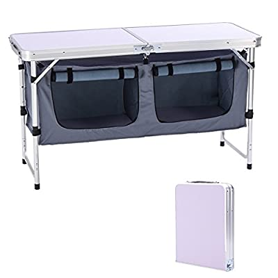 CampLand Outdoor Folding Table Aluminum Lightweight Height Adjustable with Storage Organizer for BBQ, Party, Camping (Grey) : Sports & Outdoors