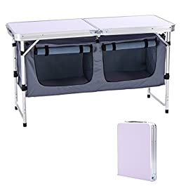 CampLand Outdoor Folding Table Aluminum Lightweight Height Adjustable with Storage Organizer for BBQ, Party, Camping…