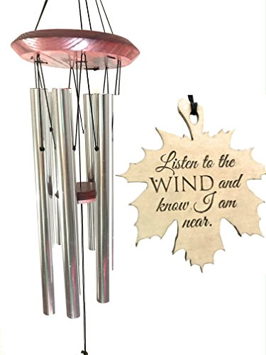 Loss of LIFE Memorial I am Near Wind Chime in memory of Loved One for Memorial Garden or Porch Heaven day remembering stillborn baby miscarriage death of mother or father Silver Woodstock Chime