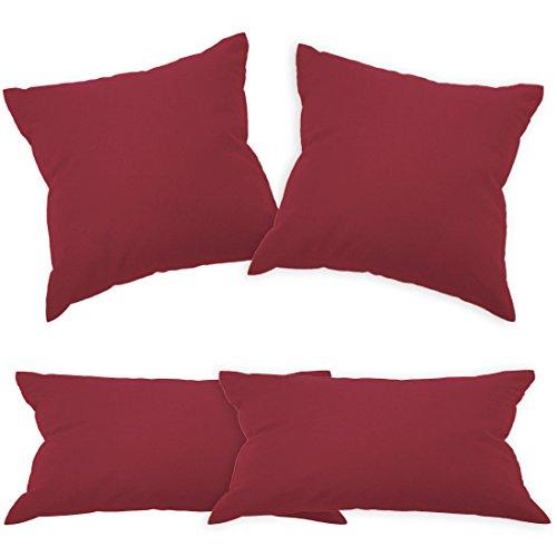 Qool24 BWLR Baumwolle Kissenbezug mit Reißverschluss in 2`er SET Bezug 28 Uni Farben und 19 Größen Bordeaux 35x35 cm