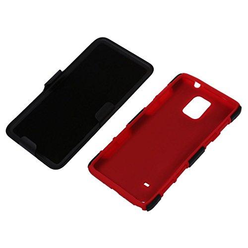 Caja del telefono celular - SODIAL(R)3 en 1 caja hibrida protectora de alto impacto + pinza de correa soporte caja de bolso de telefono para el Samsung Galaxy Note 4 rojo