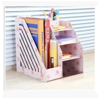 SaveStore Creative DIY Office Desktop Storage Box Office Supplies File Rack Simple Bookshelf Data Rack Wooden Book Rack