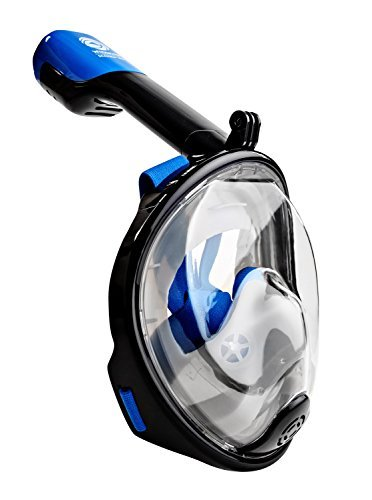 Seaview 180 Degree Panoramic Snorkel Mask- Full Face Design,Panoramic White / Blue,Large/Extra Large