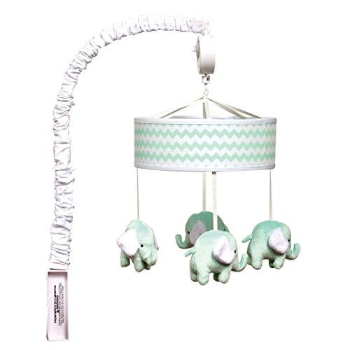 - Trend Lab Mint,Chevron, Elephant Musical Crib Mobile, Baby Mobile, Nursery