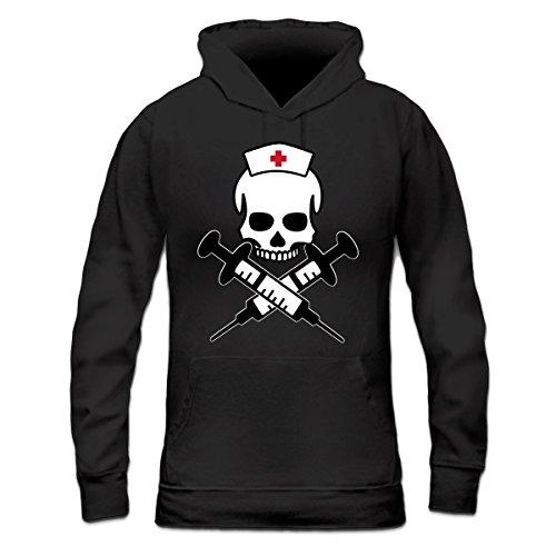 Sudadera con capucha de mujer Nurse Skull Injection by Shirtcity Negro