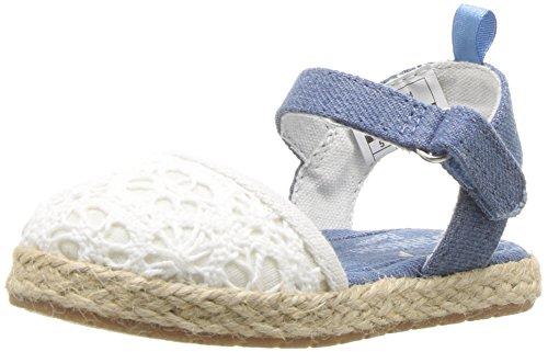 ' Georgette Closed Toe Espadrille Sandal Mary Jane Flat, Creme, 6 M US Toddler ()