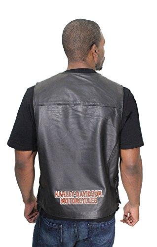 Harley-Davidson Mens Pathway Black Leather Vest 98103-02VM (Authentic Black Leather Vest)