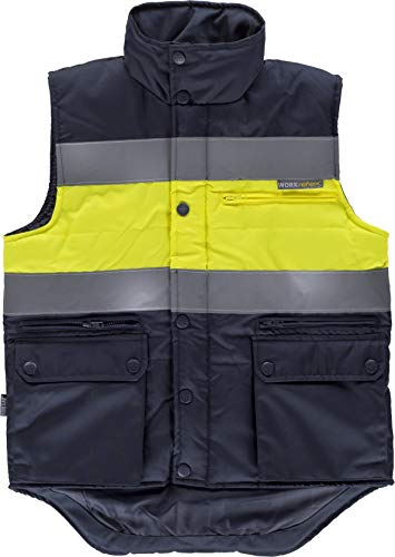 Work Team Chaleco acolchado y multibolsillos con dos cintas reflectantes y tejido de alta visibilidad. HOMBRE 2
