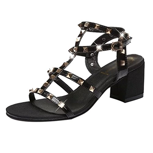 YOUJIA Womens Elegant Block Heel Sandals Ankle Strap Buckle Rivet Summer Shoes Gladiator Roman Sandals Black RVH2L
