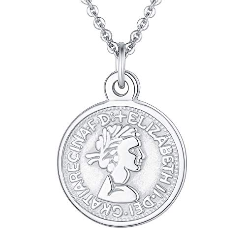 FOCALOOK Coin Necklace Vintage Surgical Stainless Steel Silver Color Dainty Queen Elizabeth 10 Pence Two-Sided Pattern Unisex Disc Round Circle Lucky Prayer Pendant Necklace for Women Men Girls Boys