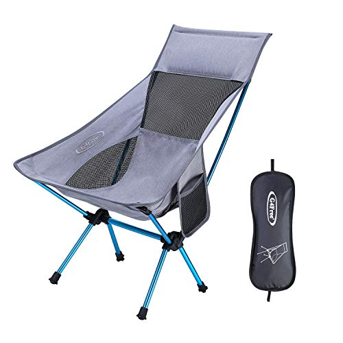 G4Free Portable Camping Chairs Medium Size with Headrest, Lightweight Backpacking Chair with Carry Bag & Side Pouch for Outdoor Camp, Picnic, Beach, Festival (Grey)