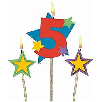 Amscan Party Time Stars and Number 5 Celebration Candle on a Stick, Pack of 3, Multi, 7