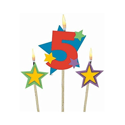 Number 5 Celebration Candle on a Stick, Pack of 3, Multi , 7