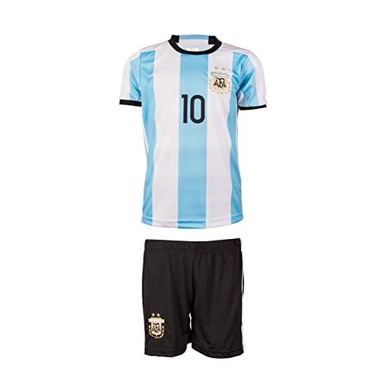 Maillot Argentine Coupe du Monde 18 et Copa America 16 # 10 Messi – Maillot de Football à Manches Longues pour Enfant et Pantalon avec Chaussettes Courtes
