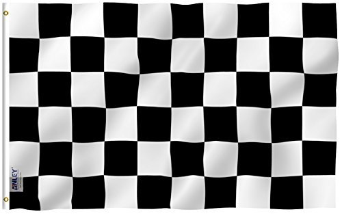 Anley Fly Breeze 3x5 Foot Checkered Flag - Vivid Color and UV Fade Resistant - Canvas Header and Double Stitched - Black and White Racing Flags Polyester with Brass Grommets 3 X 5 Ft