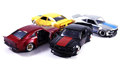 HCK Set of 4 1974 Mazda RX-3 - Pull Back Toy Sports Cars 1:32 Scale (Black/Red/Silver/Yellow)