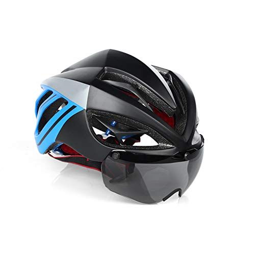 blueee1 Lens One Size Bicycle Helmet Motor Mountain Road Bike Predective Helmet Men Women Teenager Adjustable Helmet with Lenses