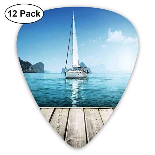 Guitar Picks - Abstract Art Colorful Designs,Yacht From Wooden Deck Horizon Serenity Seascape Leisure Aquatic Coastal Theme,Unique Guitar Gift,For Bass Electric & Acoustic Guitars-12 Pack