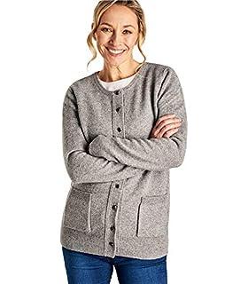 Wool Overs Cardigan à col Rond - Femme - Laine d agneau Grey Marl ... a2bf00f7e916