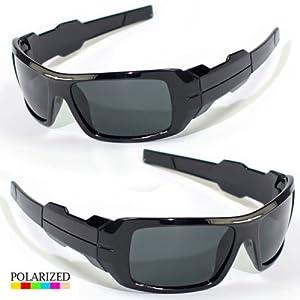 Sunclassy Mens Dark Polarized Sunglasses Anti Glare Driving Wrap Around Driving Square Frame Motorcycle Block UVA UVB UVC Rays Comfortable Durable Construction Outdoor Sports Eyewear UV (Black, Black)