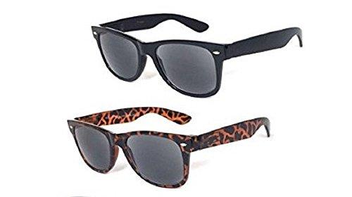 2 Pair Wayfarer Full Reader Sunglasses NOT BiFocals-Hard Case Included-Black/Tortoise - Sunglasses Wayfarer Ii