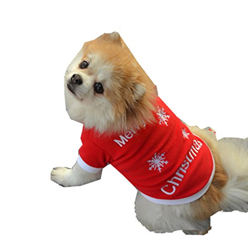 haoricu Puppy Clothes, Printed Embroidered Shirt Small Dog Cat Custome Pet Vest T-Shirt Apparel (M, Red) for $<!--$1.53-->