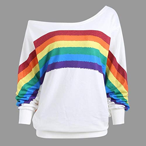 Clearance Women Tops LuluZanm Rainbow Print Pullover Blouse Shirts Sweatshirt Casual Loose Long Sleeve Shirts (Rainbow Belted Belt)