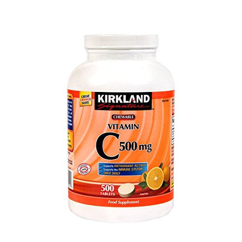Kirkland Vitamin C (500 mg), 500-Count, Tangy Orange, Chewable Tablets