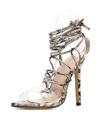 Stupmary Women Sandals Peep Toe Clear Ladies Gladiator Sandalias High Heels Cross-Tied Lace Up Pumps Beige