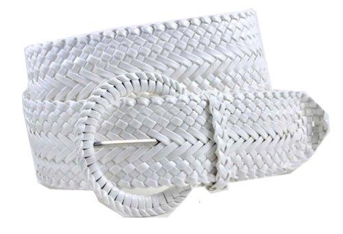 Women's Fashion Web Woven Braid Faux Leather Metallic Wide Belt, XL 47