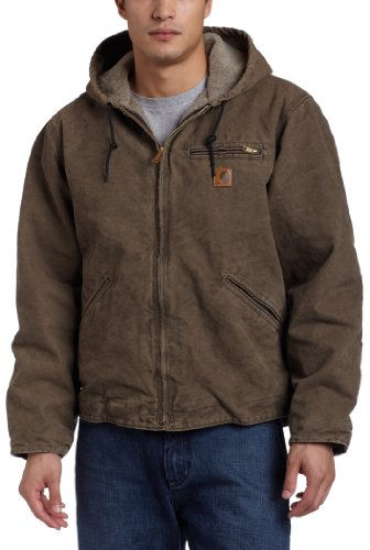 Carhartt Men's Big & Tall Sherpa Lined Sandstone Sierra Jacket J141,Marsh  (Closeout),Large Tall