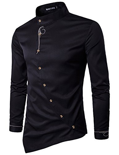 Whatlees Mens Hipster Casual Slim Fit Long Sleeve Button Down Dress Shirts Tops with Embroidery T21-Black Medium - Mandarin Collar
