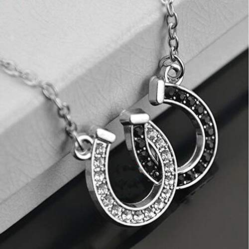 Fashion Women Rhinestone Double Horse Hoof Horseshoe Pendant Necklace Jewellery