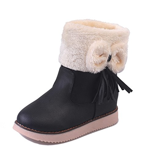 Dirance Women Faux Leather Flat Tassels Boots Ladies Bowknot Low Plarform Ankle Shoes (5, Black) - Plats Costume Shoes