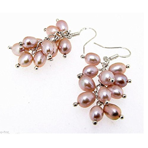 Rice Pearl Hook Earrings (Purple Rice Freshwater Cultured Pearl Group Drop/dangle Hook Earring)