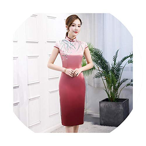 Sexy Cheongsam Vintage Chinese Style Dress Fashion Womens Rayon Qipao Slim Party Dresses Button Vestido,M ()