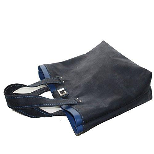 PelleRocK, Bolso de piel con canto coloreado, fucsia (Rosa) - Borsa_Giada_fucsia fucsia