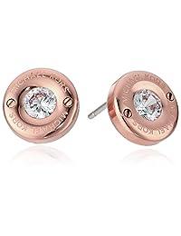 Michael Kors Womens Tone and Crystal Logo Stud Earrings