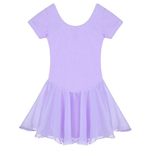 - Arshiner Girls' Ruffle Sleeve Skirted Leotard, Purple 120