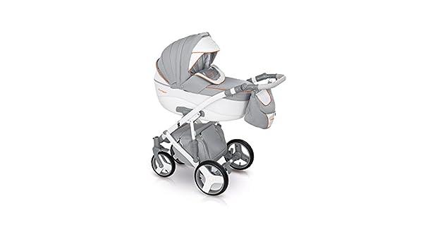 Lux4kids Trío Cochecito 3 in 1 Silla de paseo + capazo + silla para coche + rutas giratorias neumática + colchón VIP Hecho en Europa Accesorios opcionales ...