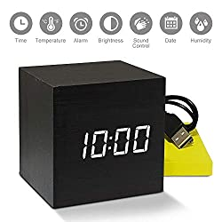E-NOMADIC Wood Veneer Digital Alarm Clock USB LED Light Minimalist Mini Modern Cube Square Desk Homes Decor Display Date Calendar Temperature Travel Kids Bedroom Clapping Sound Activated