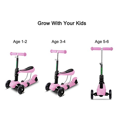 Kids 3-Wheel Mini Kick Scooter with Adjustable Handle T-Bar and Seat, LED...