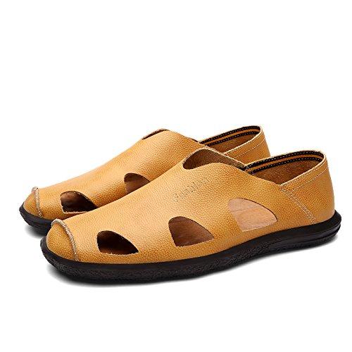 Xing Lin Sandales En Cuir Sandales En Cuir DÉté Chaussures DHommes Chaussures DHommes Paresseux Conduisant Les Jeunes Exposés Soft, Respirant Chaussures Hommes Chaussures Marée ,Brun-Jaune 44 170