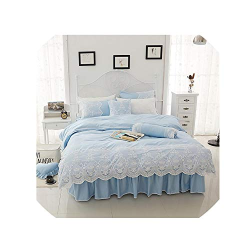 (White Lace Bedding Set Cotton Twin Full Queen King Size Bed Skirt Set Duvet Cover Girls Kids Bed Cover Set Bedclothes Pillowcase,4,Twin Size)
