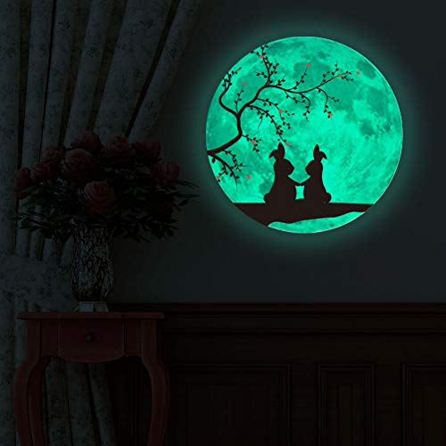 Norbi Glow in The Dark Rabbit Glowing Luminous Wall Art Stickers Removable Adhesive Wall Decal for Home Garden Festive ()