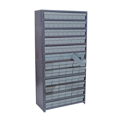 Quantum Storage Systems Closed Shelving System with Super Tuff Drawers - Complete 18in. x 36in. x 75in. Unit in Gray with 13 Shelves and 90 Bins by Quantum